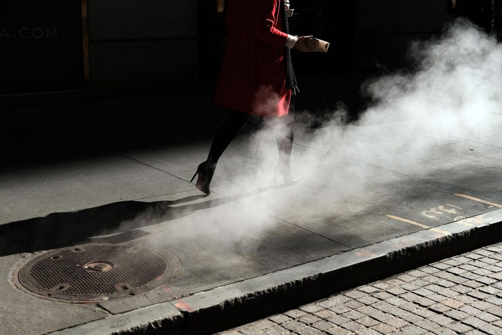 Red Coat and Steam fine art photography
