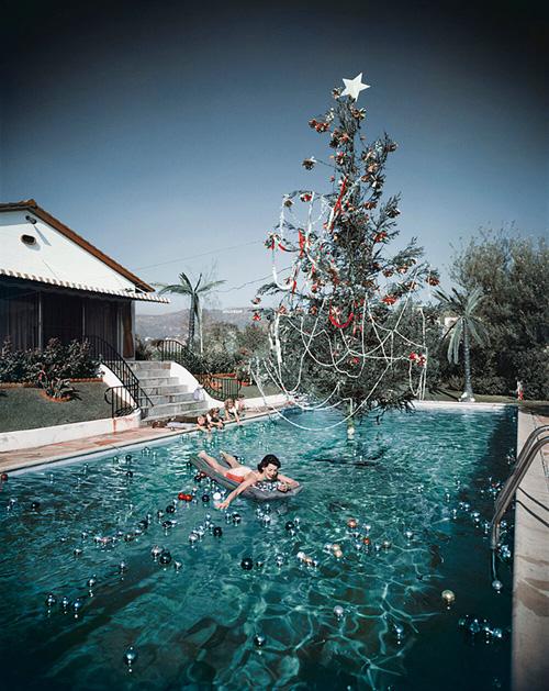 Christmas Swim from Slim Aarons Poolside fine art photography