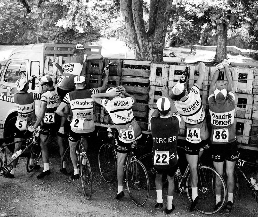 Racing Cyclists Getting Supplies from Sports fine art photography