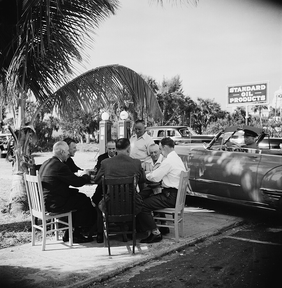 Florida Card Game from Slim Aarons B&W fine art photography